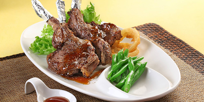 Pan-baked Lamb Chop with Herbs & Teriyaki Sauce from China Classic Restaurant in Chinatown, Singapore