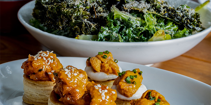 Uni Tuna Tartare & Kale Salad from Humpback in Chinatown, Singapore