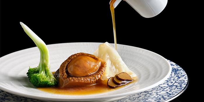 Braised Three-Head Abalone, Fish Maw, Black Truffle, Broccoli from Man Fu Yuan in InterContinental Singapore in Bugis, Singapore