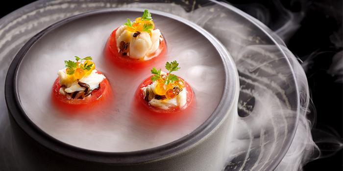 Roma Tomatoes, Crab Meat, Ikura, Yuzu Dressing from Man Fu Yuan in InterContinental Singapore in Bugis, Singapore
