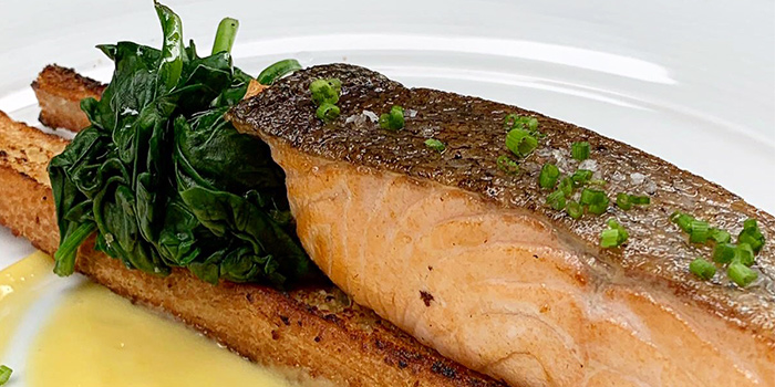 Pan Seared Salmon with Baby Spinach from Porters Restaurant & Bar @ The Sail in Marina Bay, Singapore.