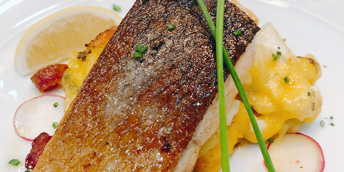 Sea Bass with Potato Fondant and Fresh Lemon from Porters Restaurant & Bar @ The Sail in Marina Bay, Singapore.