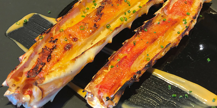 Bincho Grilled Hokkaido King Crab Leg with Uni Sauce from Tamashii on North Canal Road in Boat Quay, Singapore