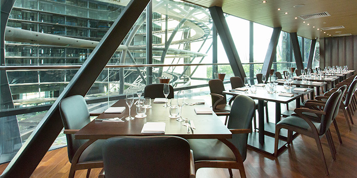 Interior of WAKANUI Grill Dining Singapore at Marina One The Heart West Tower in Marina Bay, Singapore