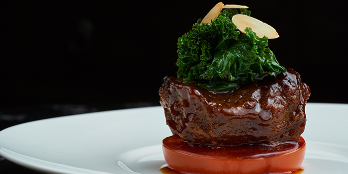 Braised Beef Cheek with Organic Kale and Confit Tomato from Wok Palace at Connexis in Buona Vista, Singapore