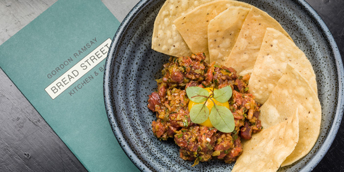 Smoked Steak Tartare, Crispy Tacos, Bread Street Kitchen & Bar, The Peak, Hong Kong
