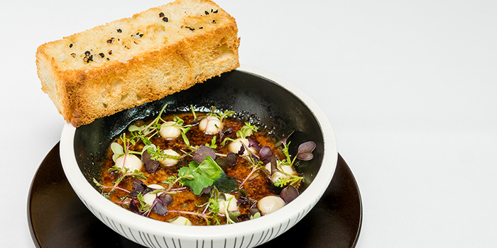 Truffle Chicken Liver Brulee, Local Herbs, Roasted Focaccia from Sinfonia Ristorante in Boat Quay, Singapore