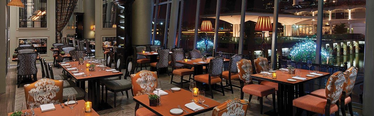 Interior of La Brasserie in Fullerton Bay Hotel, Singapore