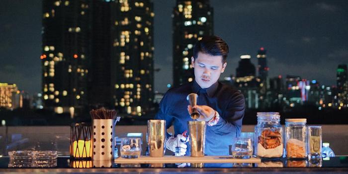 Bar Area from Topknot Rooftop Bar & Restaurant at Hotel Once Bangkok 2074/99 Charoenkrung 72/2 ,Bangkorlaem Bangkok
