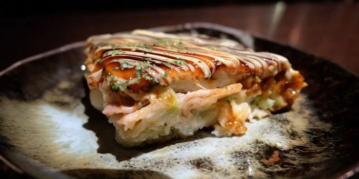 Okonomiyaki from Teppan Dining Rakuu at Sukhumvit 33 Alley Khlong Tan Nuea, Khet Watthana Bangkok
