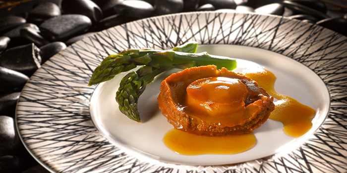 Braised 3-Head Whole Australian Abalone in Brown Sauce from Crystal Jade Pavilion at Crowne Plaza Changi Airport in Changi, Singapore