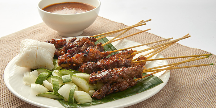 Satay from Grand Cru at South Courtyard at The Fullerton Hotel Singapore in Raffles Place, Singapore