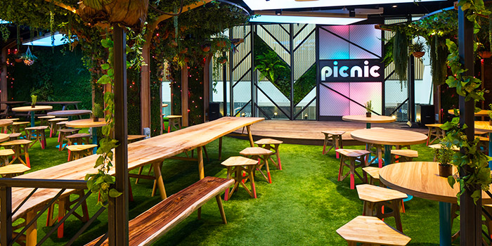 Garden Seating of Picnic Food Park at Wisma Atria in Orchard Road, Singapore