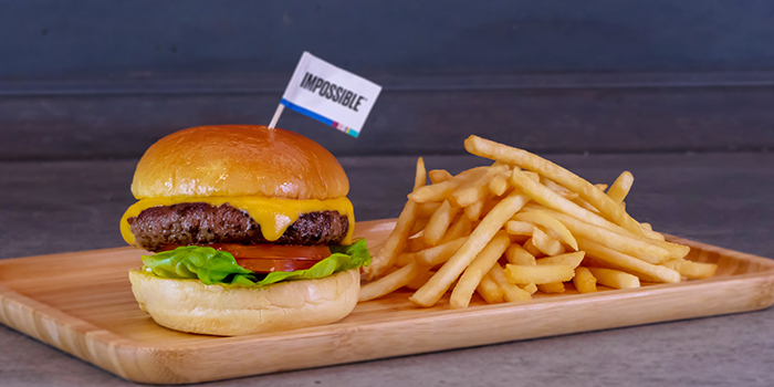 Impossible Burger with Fries from Picnic Food Park at Wisma Atria in Orchard Road, Singapore