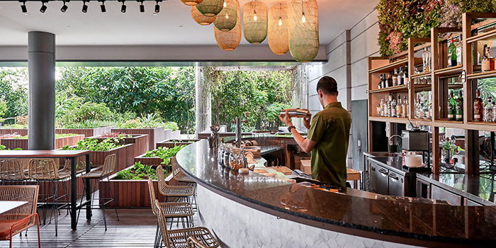 Interior of The Garden Club at OUE Downtown Gallery in Tanjong Pagar, Singapore