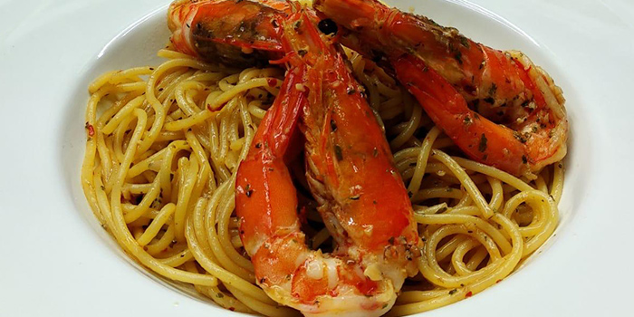 Prawn Aglio Olio from One Good Trade Cafe in Jalan Besar, Singapore