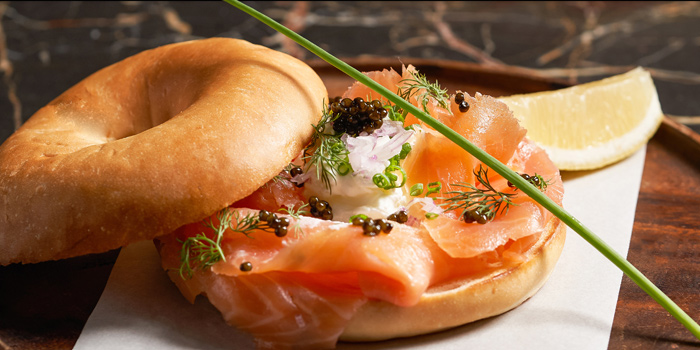 Smoked Scottish salmon Russian caviar bagel from Spectrum Lounge & Bar at Hyatt Regency Sukhumvit Bangkok Hotel 1 Sukhumvit Soi 13  Kloengtoei Nua, Watthana Bangkok