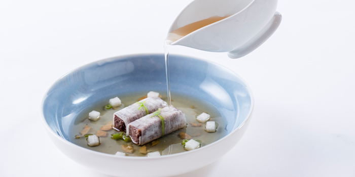 Wagyu Beef Brisket Rolls with Turnip in Beef Soup from Mei Jiang at The Peninsula Bangkok