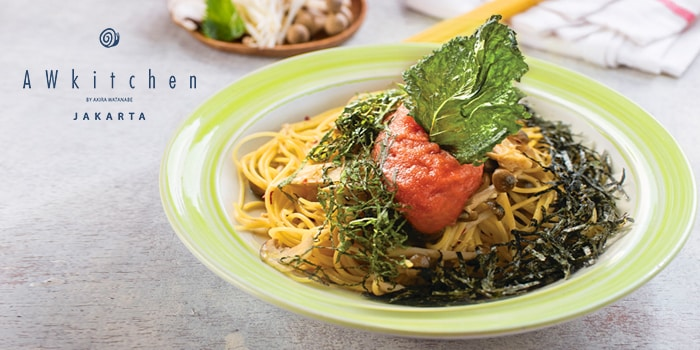 Spaghettini Spicy Cod Roe and Japanese Mushroom at Pasta House AWkitchen Plaza Senayan