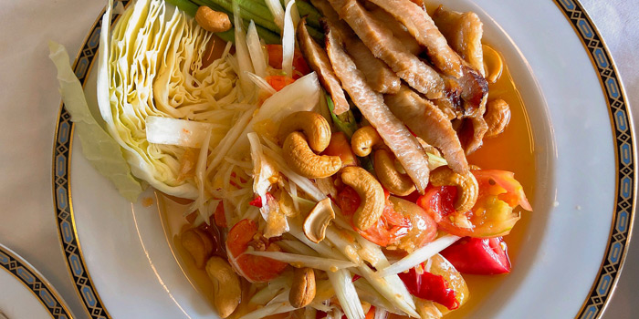 Spicy Papaya Salad with Grilled Pork from Methavalai Sorndaeng at 78/2 Ratchadumneon Klang Rd, Phra Nakhon Bangkok