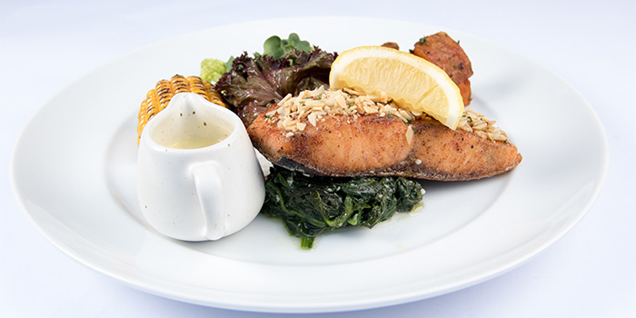 Baked Salmon Herbs and Almond Crust, Sauteed Spinach, Fried Sea Salt Potato