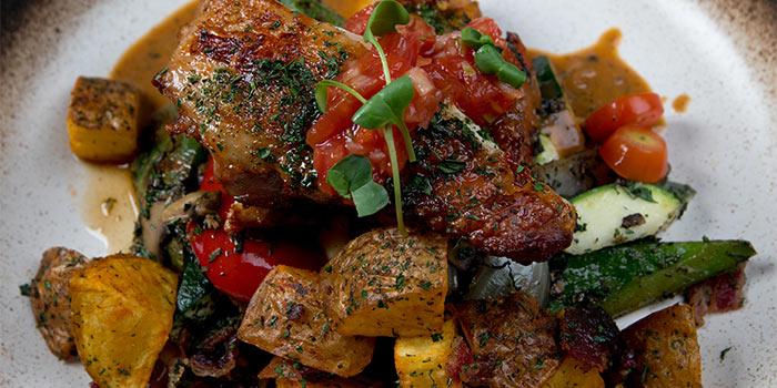 Devilled Chicken, Crisp Potato, Mushroom Rosemary, Grilled Vegetables
