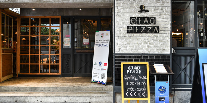Entrance of Ciao Pizza at Sitthi Vorakij Building 1st floor, Soi Phiphat, Silom Bangkok