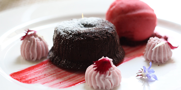Molten Chocolate Cake with Seasonal Berries at L