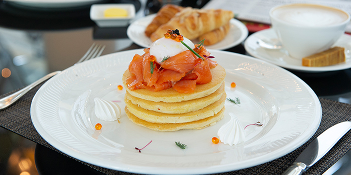Smoked Salmon Pancakes from The Landing Point in Fullerton Bay Hotel, Singapore