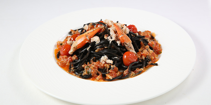 Pasta Black Ink Squid Spaghetti with Crab at The Village, Sanur