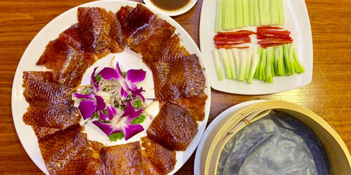 Peking Duck from Chaoxiang Restaurant at The Travellers Hotel 255, 19 Ratchadaphisek Rd Khwaeng Din Daeng, Khet Din Daeng Bangkok