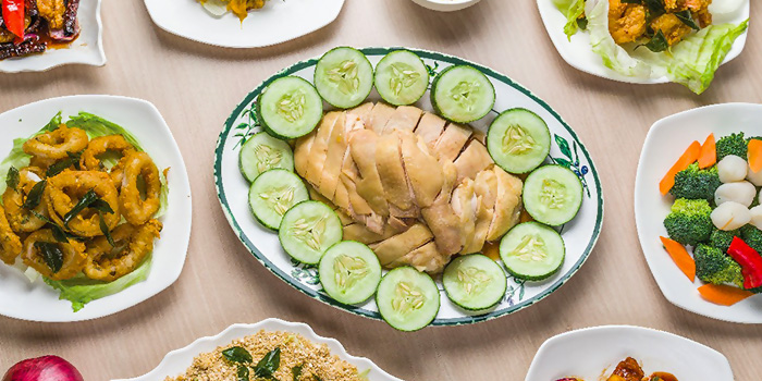 Food Flatlay from Sing Ho Hainan Chicken Rice in Bugis, Singapore