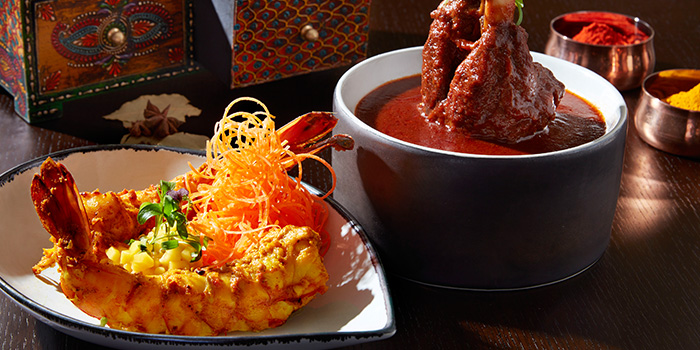 Jhinga Kebab & Nalli Roganjosh from Tiffin Room at Raffles Singapore in City Hall, Singapore