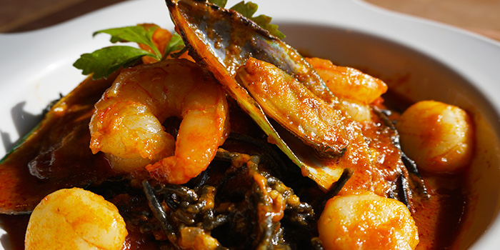 Chilli Seafood Squid Ink Pasta from Woody Family Cafe in Sembawang, Singapore
