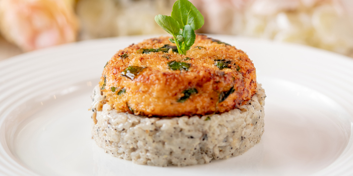 Salmon Fish Cake on Truffle Mushroom Risotto, Flame at Towngas Avenue, Tsim Sha Tsui, Hong Kong