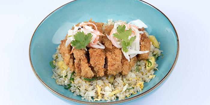 Spicy Crisp Chicken on Pineapple Rice