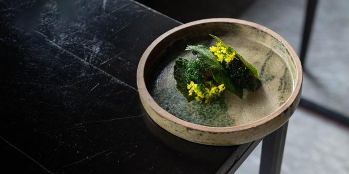 Thai Wagyu & Oyster Tartare Pickled Garlic Fermented Chili Kale from 80/20 at 1052-1054 CharoenKrung Road, Bangrak Bangkok