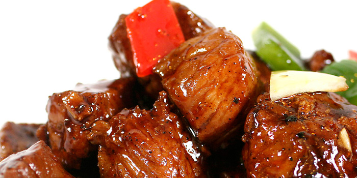 Pan Fried Beef Cubes with Black Pepper Sauce at Seafood House, Bali