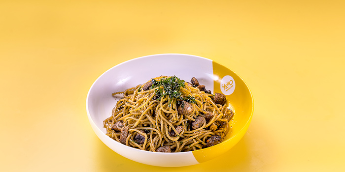 1-Up Mushroom Spaghetti Pesto at WOK