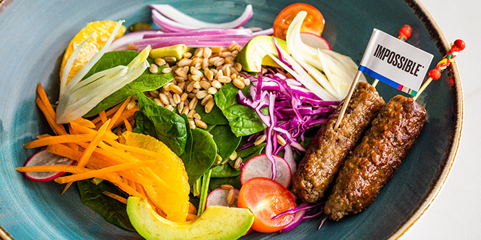 All-you-need Salad Bowl and Impossible Kofta Kebab from Verde Kitchen at Hilton Singapore in Orchard, Singapore