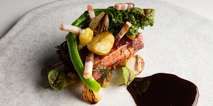 Beef with Broccolini, Red Wine Jus from V Dining at Scotts Square in Orchard, Singapore