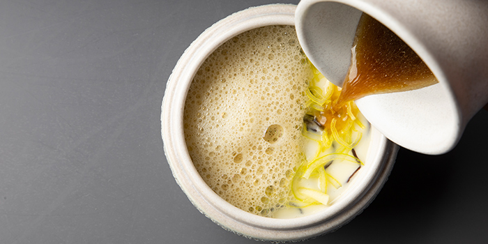 Chawanmushi with Black Fungus, Miso, Bamboo Shoot from V Dining at Scotts Square in Orchard, Singapore