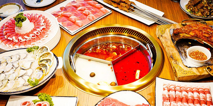 Food Spread from Little Lamb Hotpot Suntec (小尾羊) at Sky Garden Suntec City Mall in Promenade, Singapore