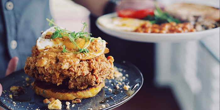 Fried Chicken & Corn Cake and The Full on Usual from Riders Cafe in Bukit Timah, Singapore