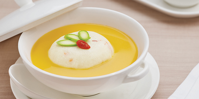 Golden Pumpkin Broth from Yan at National Gallery Singapore at City Hall, Singapore