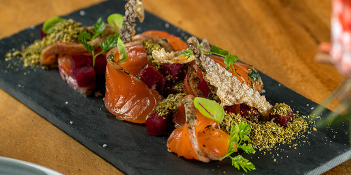 House cured Salmon from Cavemen Restaurant & Bar in Balestier, Singapore