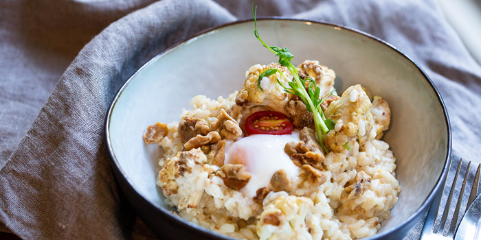 Risotto with Roasted Cauliflower, Walnut & Soft Boiled Egg, HOW, Kwun Tong, Hong Kong