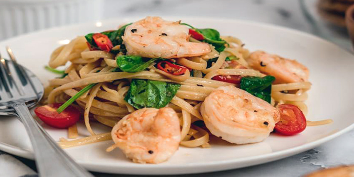 Prawn Aglio Olio Linguine from Cafe Manuka at Paragon in Orchard, Singapore
