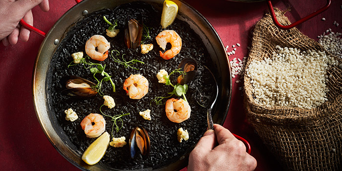 Squid Ink Paella from El Teatro Tapas at Arcade @ The Capitol Kempinski in City Hall, Singapore