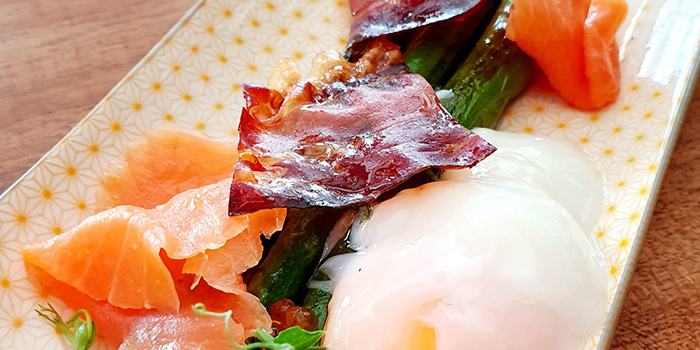 Asparagus, Egg, Prosciutto, Cured Salmon from Frenchie Wine Bar in Outram Park, Singapore
